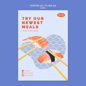 Conception de modèle d'affiche de sushi
