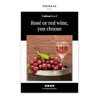Conception de modèle d'affiche de vin traditionnel