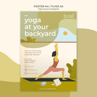 Conception de modèle d'affiche de yoga