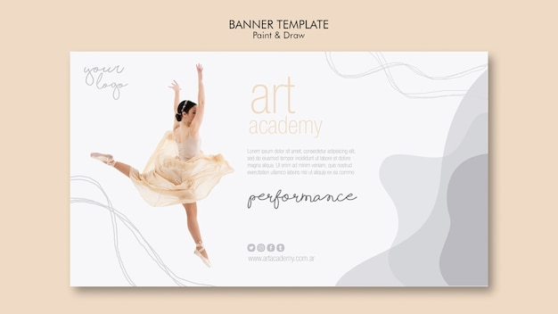 Conception de modèle de bannière académie d'art