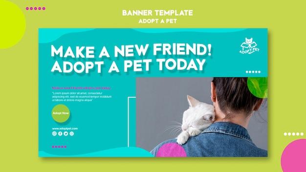 Conception de modèle de bannière d'adoption pour animaux de compagnie