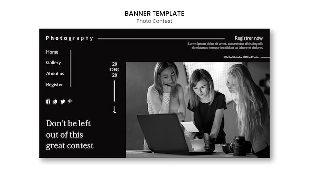 Conception de modèle de bannière de concours photo