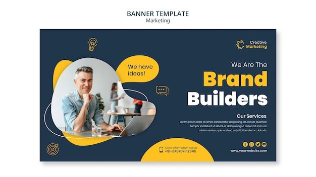 Conception de modèle de bannière avec des créateurs de marque