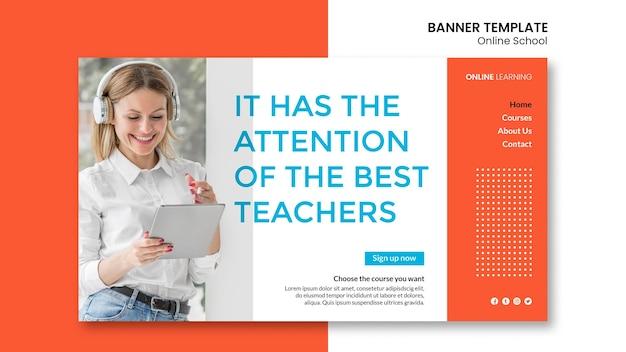 Conception de modèle de bannière d'école en ligne