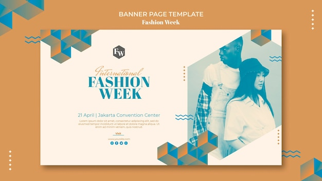 Conception de modèle de bannière fashion week