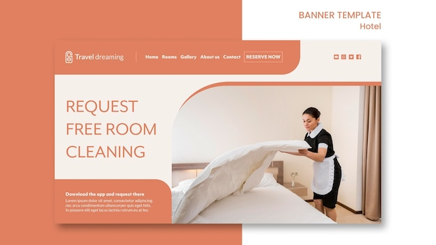 Conception de modèle de bannière d'hôtel
