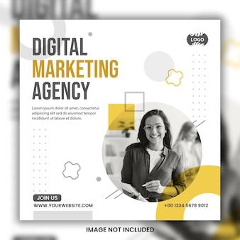 Conception de modèle de bannière de publication de médias sociaux instagram de marketing numérique