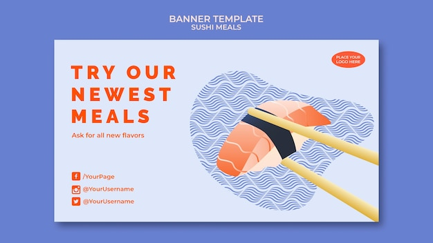Conception de modèle de bannière de sushi
