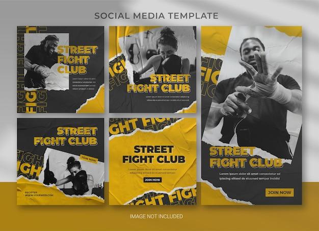 Conception de modèle de bundle de pack de médias sociaux sportifs