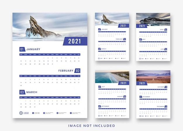 Conception de modèle de calendrier mural 2021