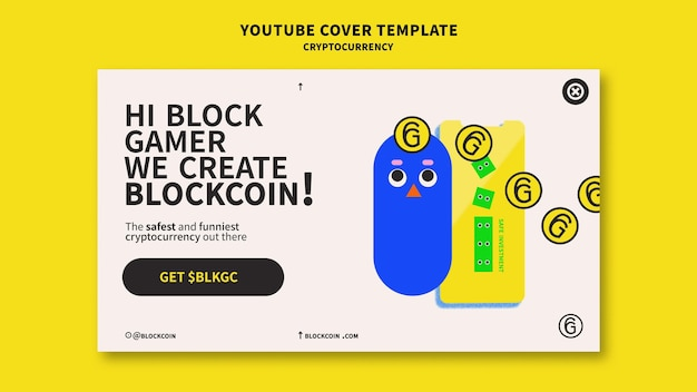 Conception de modèle de couverture youtube crypto-monnaie