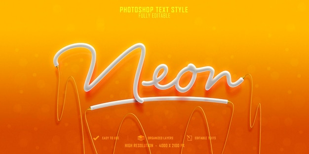 Conception de modèle d'effet de style de texte néon