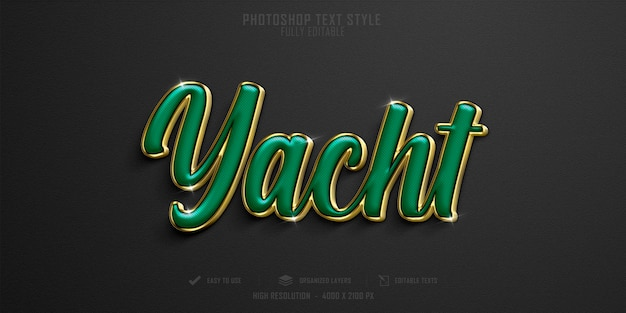 Conception de modèle d'effet de style de texte de yacht de luxe 3d