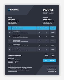 Conception de modèle de facture d'entreprise sombre créative minimaliste