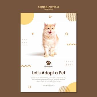 Conception de modèle de flyer d'adoption pour animaux de compagnie