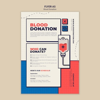 Conception de modèle de flyer de don de sang