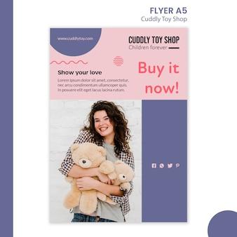 Conception de modèle de flyer de magasin de jouets câlins