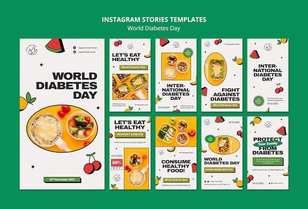 Conception de modèle d'histoire insta de la journée mondiale du diabète