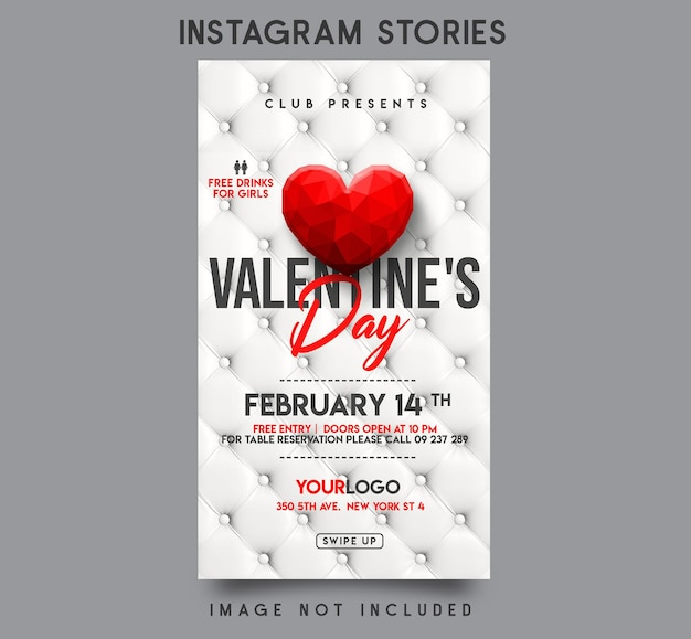 Conception de modèle d'histoires instagram pour la saint-valentin