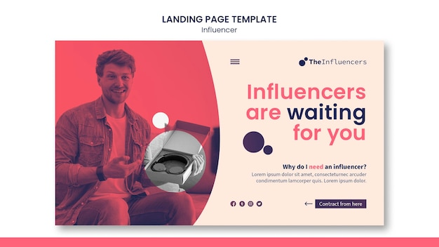 Conception de modèle d'influenceur de page de destination