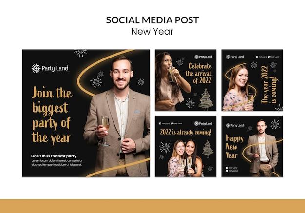 Conception de modèle de médias sociaux de nouvel an