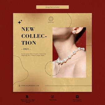 Conception de modèle de médias sociaux de vente de bijoux de luxe
