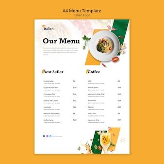 Conception de modèle de menu de cuisine italienne