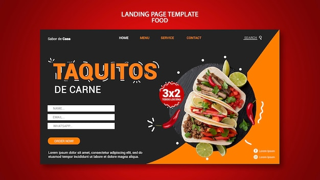 Conception de modèle de page de destination alimentaire