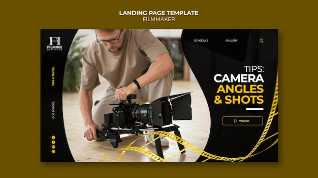 Conception de modèle de page de destination de cinéaste