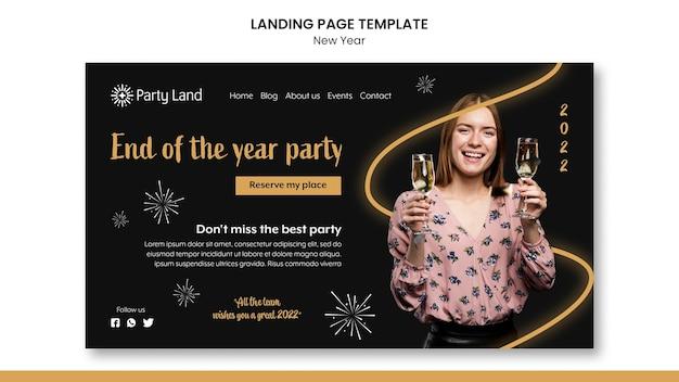 Conception de modèle de page de destination du nouvel an