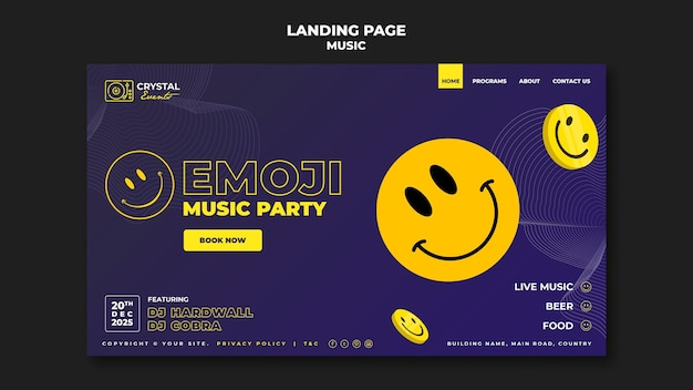 Conception de modèle de page de destination emoji music party