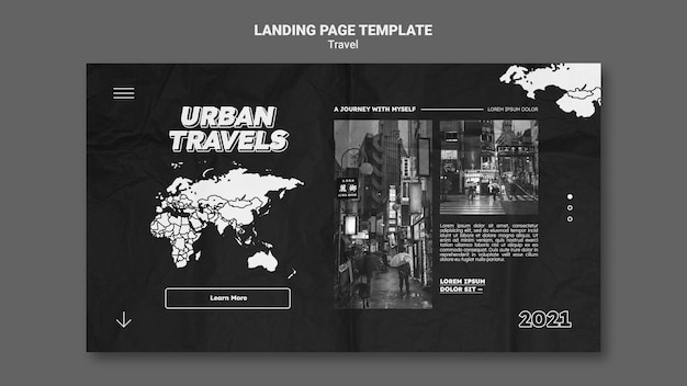 Conception de modèle de page de destination de voyages urbains