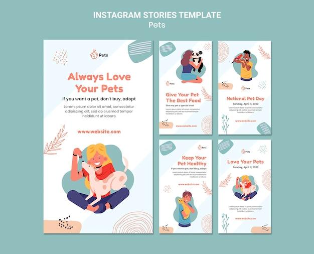 Conception de modèle pour animaux de compagnie histoire instagram