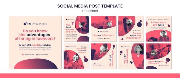 Conception de modèle de publication de médias sociaux carrés pour les influenceurs
