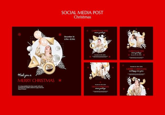 Conception de modèle de publication de médias sociaux de noël