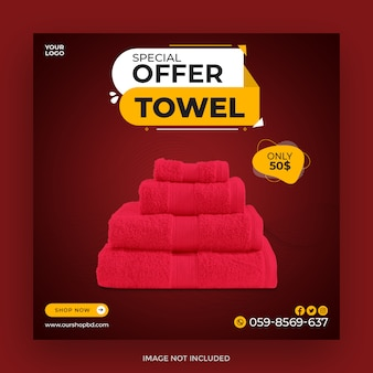 Conception de modèle de publication de médias sociaux pour vente de serviettes spéciales