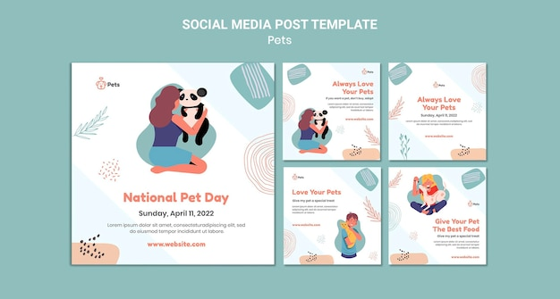 Conception de modèle de publication pour animaux de compagnie sur les réseaux sociaux