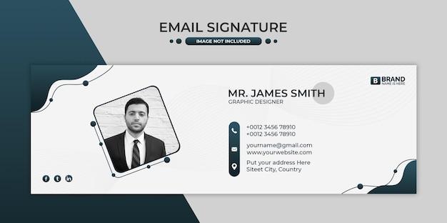 Conception de modèle de signature de courrier électronique d'entreprise ou pied de page de courrier électronique et couverture personnelle de médias sociaux