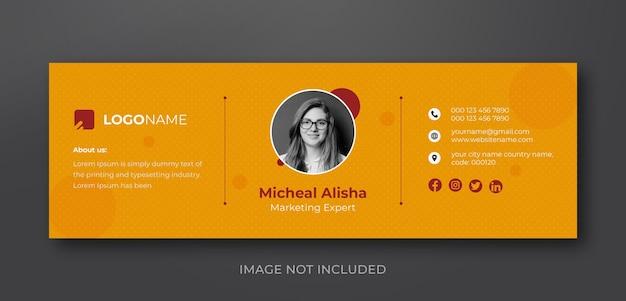 Conception de modèle de signature de courrier électronique minimaliste personnel ou modèle de couverture de médias sociaux personnel