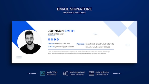 Conception de modèle de signature de courrier électronique ou pied de page de courrier électronique et couverture de médias sociaux personnels, réseau social