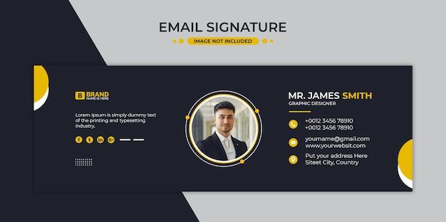 Conception de modèle de signature de courrier électronique ou pied de page de courrier électronique et couverture de médias sociaux personnels