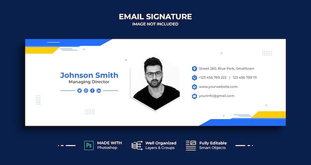 Conception de modèle de signature de courrier électronique professionnel ou pied de page de courrier électronique et couverture de médias sociaux personnels