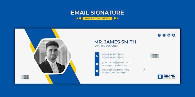 Conception de modèle de signature d'e-mail ou pied de page d'e-mail et couverture de médias sociaux personnels