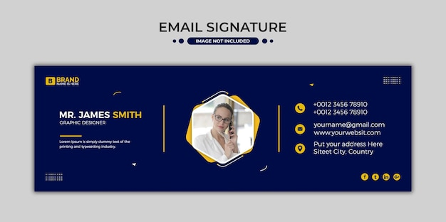 Conception de modèle de signature d'e-mail ou pied de page d'e-mail et couverture personnelle des médias sociaux