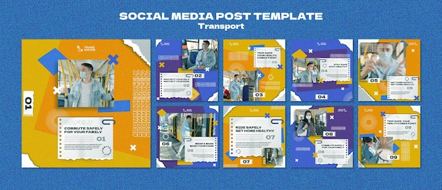 Conception de modèle de transport de publication sur les médias sociaux insta
