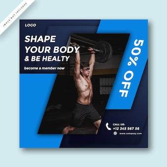 Conception moderne de promotion des médias sociaux gym et fitness