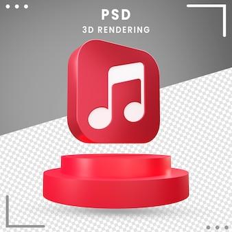 Conception de musique icône tournée 3d