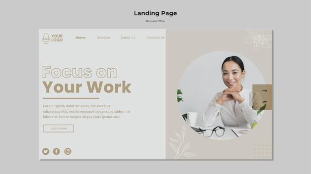 Conception de page de destination de bureau minimaliste