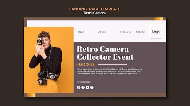 Conception de page de destination de caméra rétro