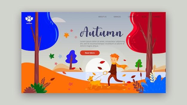 Conception de page de destination concept automne
